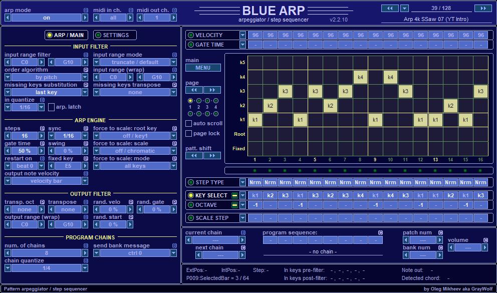 BlueARP – arpeggiator / pattern sequencer – Developer's
